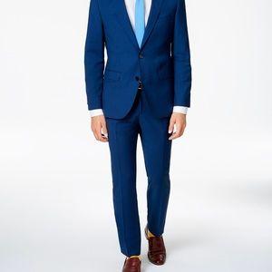 Blue linen blend dress pants